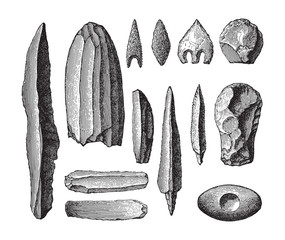 Stone age tools collection / vintage illustration