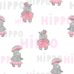 Cute baby Hippo pattern for kids design. Vector background.