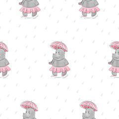 Seamless pattern with cartoon Hippo with umbrella. Vector rain background for kids design.