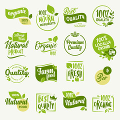 Organic food, farm fresh and natural product signs and elements collection for food market, ecommerce, organic products promotion, healthy life and premium quality food and drink.