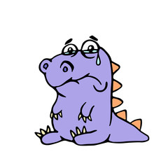 Cartoon purple sad dino. Vector illustration.