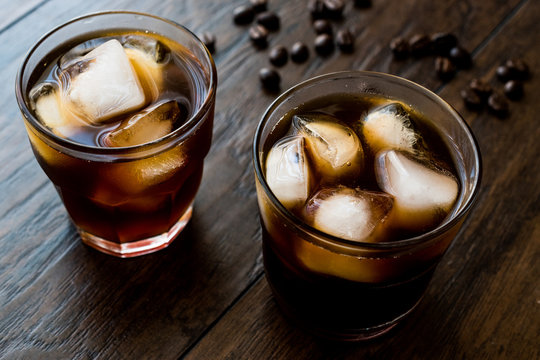 Cold brew coffee with ice or iced coffee.