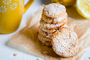 Food, Close Up View of Stack of Shortbread Lemon Cookies on Light Wooden Table, Horizontal View, Wallpaper