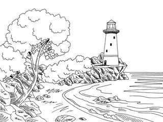 Lighthouse sea coast graphic black white landscape sketch illustration vector