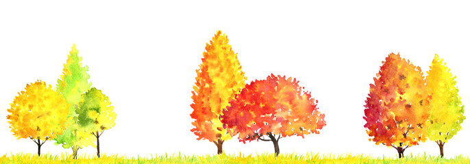 watercolor autumn landscape with trees
