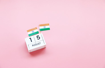 AUGUST 15 Wooden calendar Concept independence day of India and India national day.Copy space,minimal style