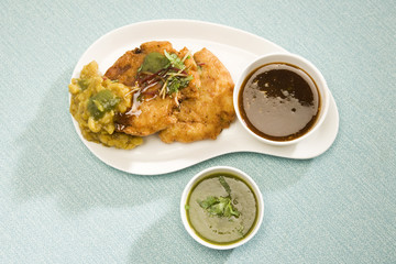 Aloo tikki or fried potato balls or chaat, indian food