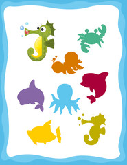 cartoon matching game with sea animals sea horse / colorful shapes - isolated illustration for children