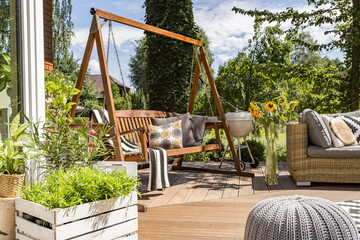 House patio with the garden swing