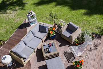 Cozy terrace from the bird view