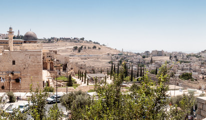 View of the Mount of Olives Jerusalem Cemetery from the Dung Gate in the old town in Jerusalem, Israel