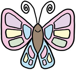 Simple Smiling Butterfly Illustration Vector