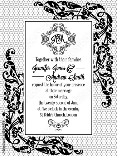 Vintage Delicate Formal Invitation Card Stock Image And