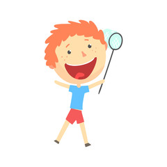 Happy smiling cartoon redhead boy playing with a butterfly net, kids outdoor activity, colorful character vector Illustration