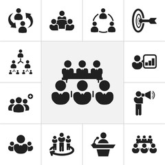 Set Of 12 Editable Business Icons. Includes Symbols Such As Team, Talking Man, Commander. Can Be Used For Web, Mobile, UI And Infographic Design.