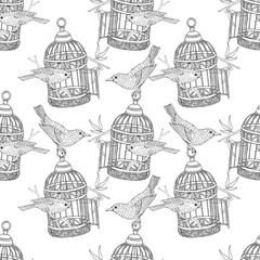 Seamless Pattern with the image of birdcage and birds. Vector black and white illustration.
