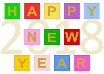 """Bunter Schriftzug """"Happy New Year"""" aus bunten Quadraten gebildet und im Hintergrund die große Jahreszahl 2018"""