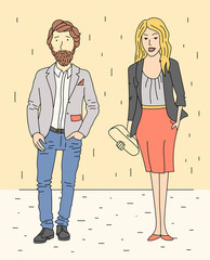 Businessman and business woman in business clothes. Vector illustration