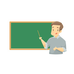 Teacher with chalkboard vector