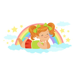 Nice little redhead girl lying on her stomach on a cloud next to the rainbow and dreaming, kids imagination and fantasy, colorful character vector Illustration