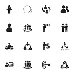 Set Of 16 Editable Community Icons. Includes Symbols Such As Command, Friendship, Speaker. Can Be Used For Web, Mobile, UI And Infographic Design.