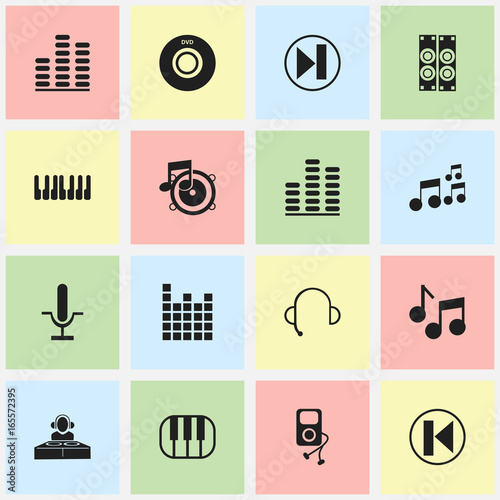 Set Of 16 Editable Mp3 Icons  Includes Symbols Such As Loudspeaker
