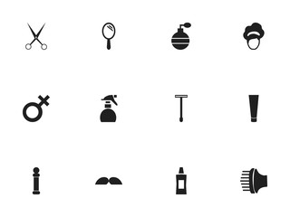 Set Of 12 Editable Hairdresser Icons. Includes Symbols Such As Whiskers, Reflector, Odor And More. Can Be Used For Web, Mobile, UI And Infographic Design.