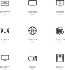 Set Of 9 Editable Filming Icons. Includes Symbols Such As Theater Agency, Reel, Display And More. Can Be Used For Web, Mobile, UI And Infographic Design.