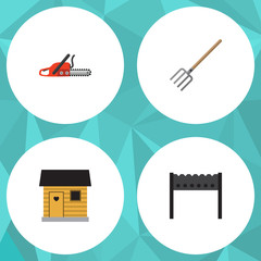 Flat Icon Dacha Set Of Barbecue, Hacksaw, Stabling And Other Vector Objects. Also Includes Saw, Hacksaw, Stabling Elements.
