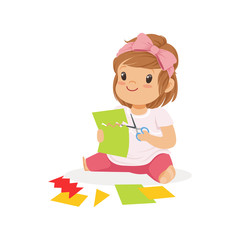 Cute little girl сutting an application details, kids creativity, education and child development, colorful character vector Illustration