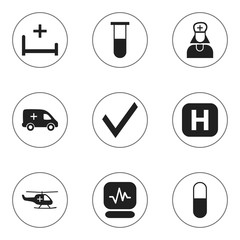 Set Of 9 Editable Health Icons. Includes Symbols Such As Clinic, Emergency, Mark And More. Can Be Used For Web, Mobile, UI And Infographic Design.