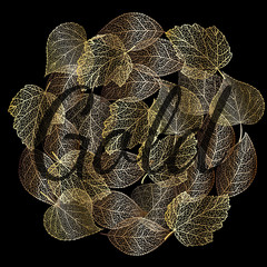 Vector illustration. Golden round spot of lace different autumn leaves.