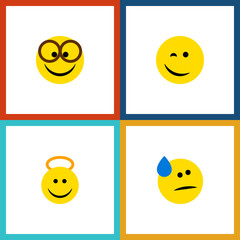 Flat Icon Expression Set Of Winking, Tears, Angel And Other Vector Objects. Also Includes Happy, Smile, Angel Elements.