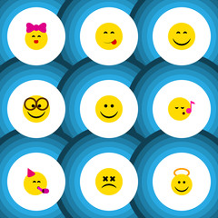 Flat Icon Face Set Of Party Time Emoticon, Smile, Delicious Food And Other Vector Objects. Also Includes Joy, Song, Smile Elements.