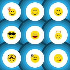 Flat Icon Face Set Of Pleasant, Smile, Laugh And Other Vector Objects. Also Includes Face, Sunglasses, Happy Elements.