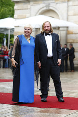 German Green Party chairwoman Roth and Hofreiter arrive  at the red carpet for the opening of the Bayreuth Wagner opera festival outside the Gruener Huegel (Green Hill) opera house in Bayreuth