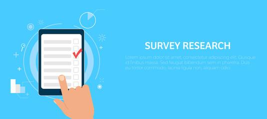 Fototapeta Survey research. Make a choice on the tablet