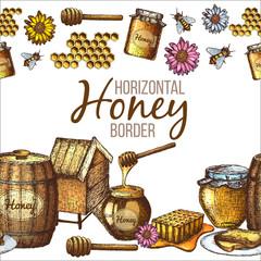Hand drawn ink sketch illustration, horizontal border of honey, organic nature products. Vector