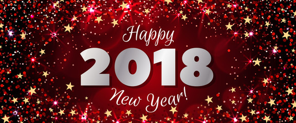 Happy New Year 2018 Greeting Horizontal Banner. Festive Illustration With  Colorful Confetti, Party Popper