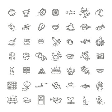 Fish and seafood - outline icon collection, vector for restaurant menu