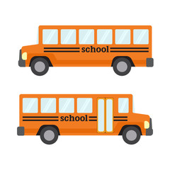 Orange flat school bus, school transportation. Vector