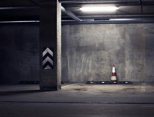 Urban underground background. Concrete wall under the lamp light in the dark