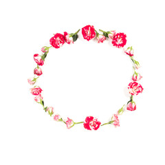 Flowers composition. Wreath made of rose flowers on white background. Flat lay, top view