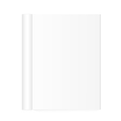 Blank open magazine template with rolled pages on white background. Vector illustration. EPS10.