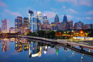 Philadelphia skyline at night Wall mural