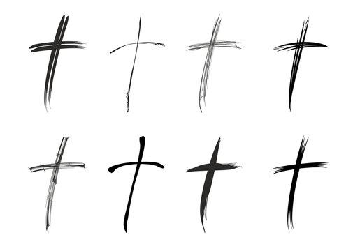 Unterschiedliche schwarze christliche Kreuze