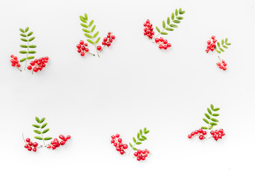 Berry ornament. Red currant and leaves on white background top view copyspace