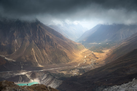 Wind of change. Nepal, Manaslu region, a view of the valley of the Buri Gandaki river with Birendra lake (3,450 m) and the Samagaon village (3,530 m) on the way to the Manaslu base camp (4,850 m).