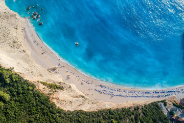 Aerial view of the famous beach of Porto Katsiki on the island of Lefkada in the Ionian Sea in Greece