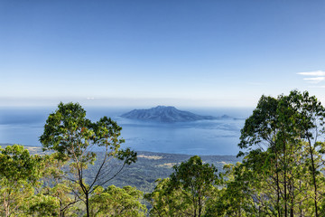 View of Pulau Besar island from Mount Egon, a stratovolcano on Flores in Indonesia.
